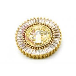 Pendente AQ Nossa Senhora Cristais - Dourado (30mm)