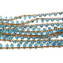 Corrente Dourada Cristais Tom Azul Aqua Translucido [98cm]