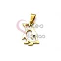Pendente Aço Inox Mini Pinguim - Dourado (20x11mm)