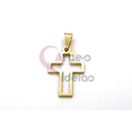 Pendente Aço Inox Aro Cruz - Dourado (22x14mm)
