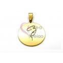 Pendente Aço Inox Desenho de Anjo - Dourado (25mm)