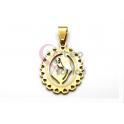 Pendente Aço Inox Nossa Senhora Rebordo Corações - Dourado (25x20mm)