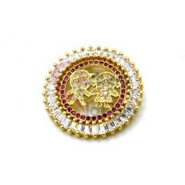 Pendente AQ Menino e Menina Cristal Rosa - Dourado (26mm)