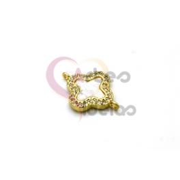 Pendente AQ Mini Flor Madreperola - Dourado (14x12mm)