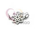 Pendente Aço Inox Mini Flor - Prateado (15mm)