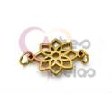 Pendente Aço Inox Mini Flor - Dourado (15mm)