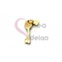 Pendente Aço Inox Mini Chave Coração - Dourado (20x7mm)