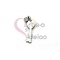 Pendente Aço Inox Mini Chave Coração - Prateado (20x7mm)