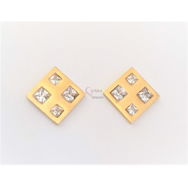 Brincos Aço Quadrado com Quadrados Brilhantes - Dourado