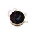 Pendente Pedra Semi-Preciosa Redondo Onix - Dourado (15mm)