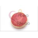 Pendente Pedra Semi-Preciosa Redondo Agata Strawberry - Dourado (15mm)