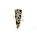 Pendente Pedra Semi-Preciosa Triangulo Jasper Dalmata - Dourado (40x15mm)