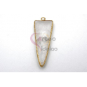 Pendente Pedra Semi-Preciosa Triangulo Quartzo Transparente- Dourado (40x15mm)