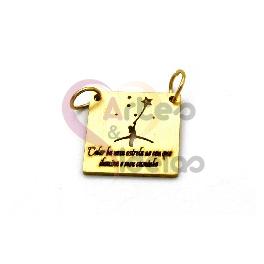 Pendente Aço Inox «Há uma Estrela no Ceu» - Dourado (16x16mm)