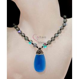Colar Pedras e Briolette - Azul