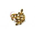 Anel Aço Inox Folhas Brilhantes Interlacadas - Dourado