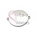 Pendente Aço Inox Medalha Lisa c/Dois Orificios Exteriores - Prateado (25mm)