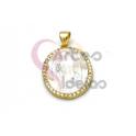 Pendente Aço Inox Oval Nossa Senhora em Madreperola Brilhantes - Dourado (20x18mm)