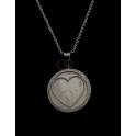 Fio Aço Inox Medalhão Coração Madrepérola e Brilhantes - Prateado