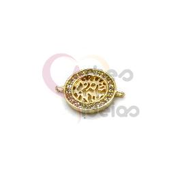 Pendente AQ Aro Brilhantes Abstracto - Dourado (15mm)