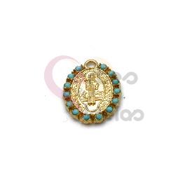 Pendente Latão Oval Santo Blue Dots - Dourado (19x15mm)