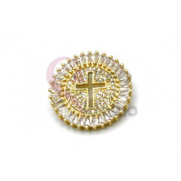 Pendente AQ Recorte Cruz Cristais Brilhantes - Dourado (25mm)