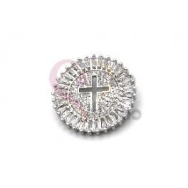 Pendente AQ Recorte Cruz Cristais Brilhantes - Prateado (25mm)