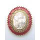 Pendente AQ Nossa Senhora Madreperola Cristais Rosa Velho - Dourado (33x28mm)