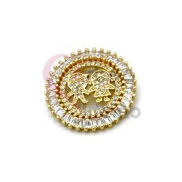 Pendente AQ Menino e Menina Cristal Brilhantes - Dourado (27mm)