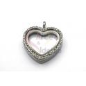 Pendente Aço Inox Medalhão Coração Transparente c/Abertura - Prateado (30mm)