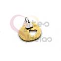 Pendente Aço Inox Irregular Mini Coração Recorte Coração - Dourado e Prateado (14x16mm)