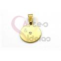 Pendente Aço Inox Redondo Brilhante Centro - Dourado (15mm)