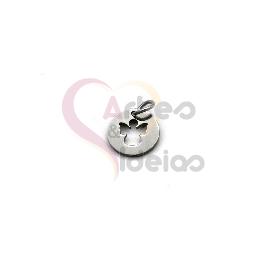 Pendente Aço Inox Mini Medalha Recorte Anjo - Prateado (10mm)