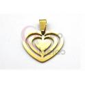 Pendente Aço Inox Corações Multiplos - Dourado (22x25mm)