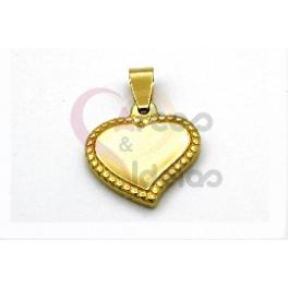 Pendente Aço Inox Coração Pontilhado - Dourado (20mm)