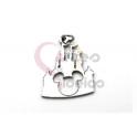 Pendente Aço Inox Castelo Disney Recorte Mickey - Prateado (23x18mm)