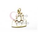 Pendente Aço Inox Castelo Disney Recorte Mickey - Dourado (23x18mm)