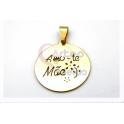 Pendente Aço Inox Amo-te Mãe Recortado Redondo - Dourado (27mm)