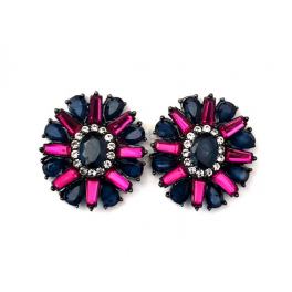 Brincos Fashion Mood Flower Azul Escuro e Fuchsia
