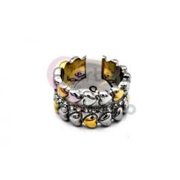 Anel Aço Inox Romantic Corações Brilhantes - Prateado e Dourado