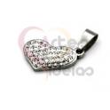 Pendente Aço Inox Coração Brilhantes - Prateado (20x13mm)