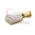 Pendente Aço Inox Coração Brilhantes - Dourado (20x13mm)