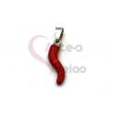 Pendente Aço Inox Malagueta Vermelha - Prateado (20x4mm)