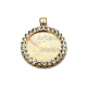 Pendente AQ Medalha Redonda Envolta Brilhantes - Dourado (34mm)