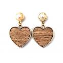 Brincos Fashion Mood Coração Wood - Natural