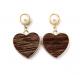 Brincos Fashion Mood Coração Wood - Castanho