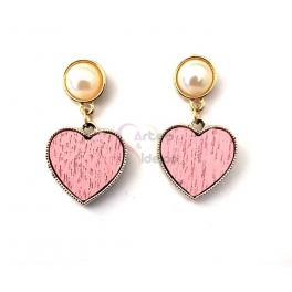Brincos Fashion Mood Coração Wood - Rosa