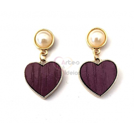 Brincos Fashion Mood Coração Wood - Roxo