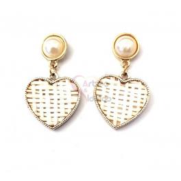 Brincos Fashion Mood Coração Entrançado - Branco Pérola