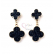 Brincos Fashion Mood 2 Trevos - Azul Escuro